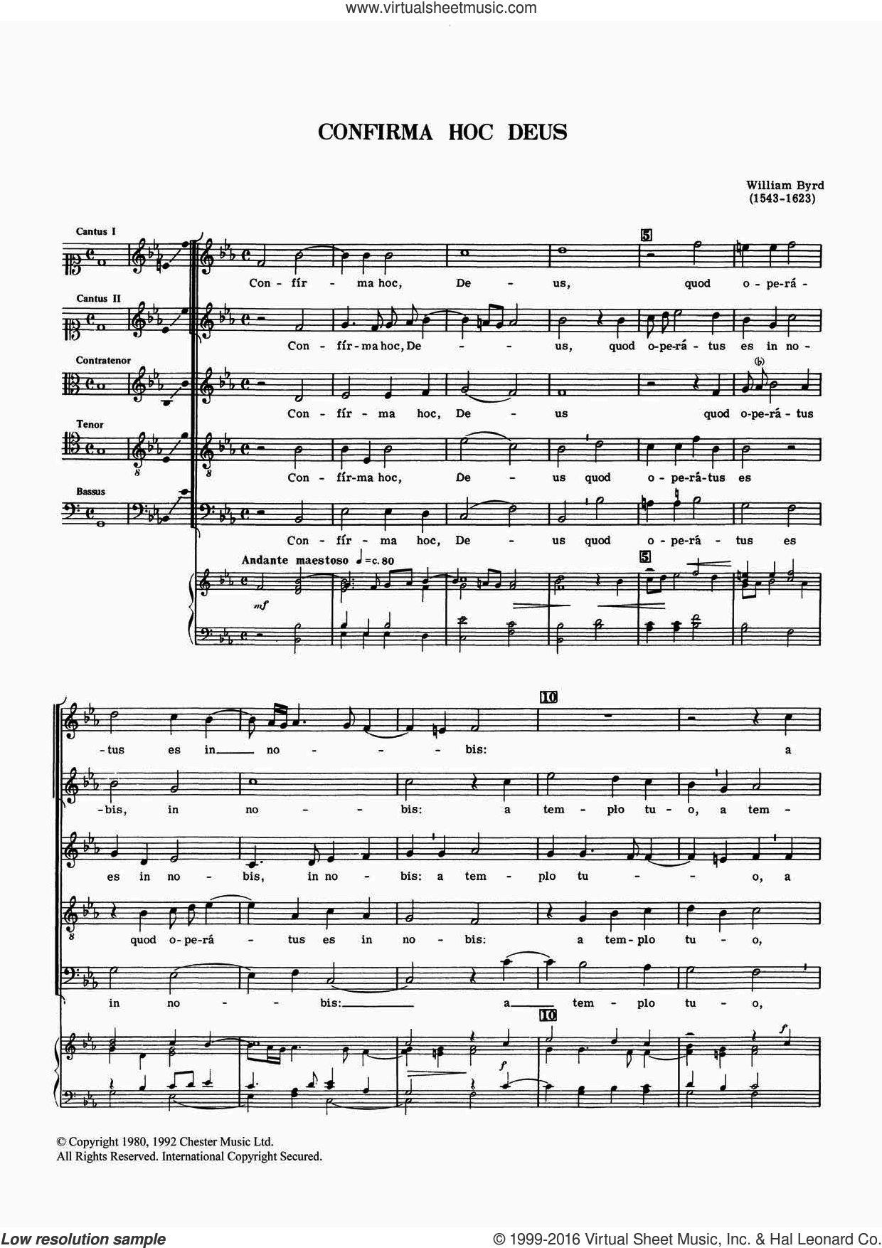 Confirma Hoc Deus sheet music for voice, piano or guitar by William Byrd. Score Image Preview.