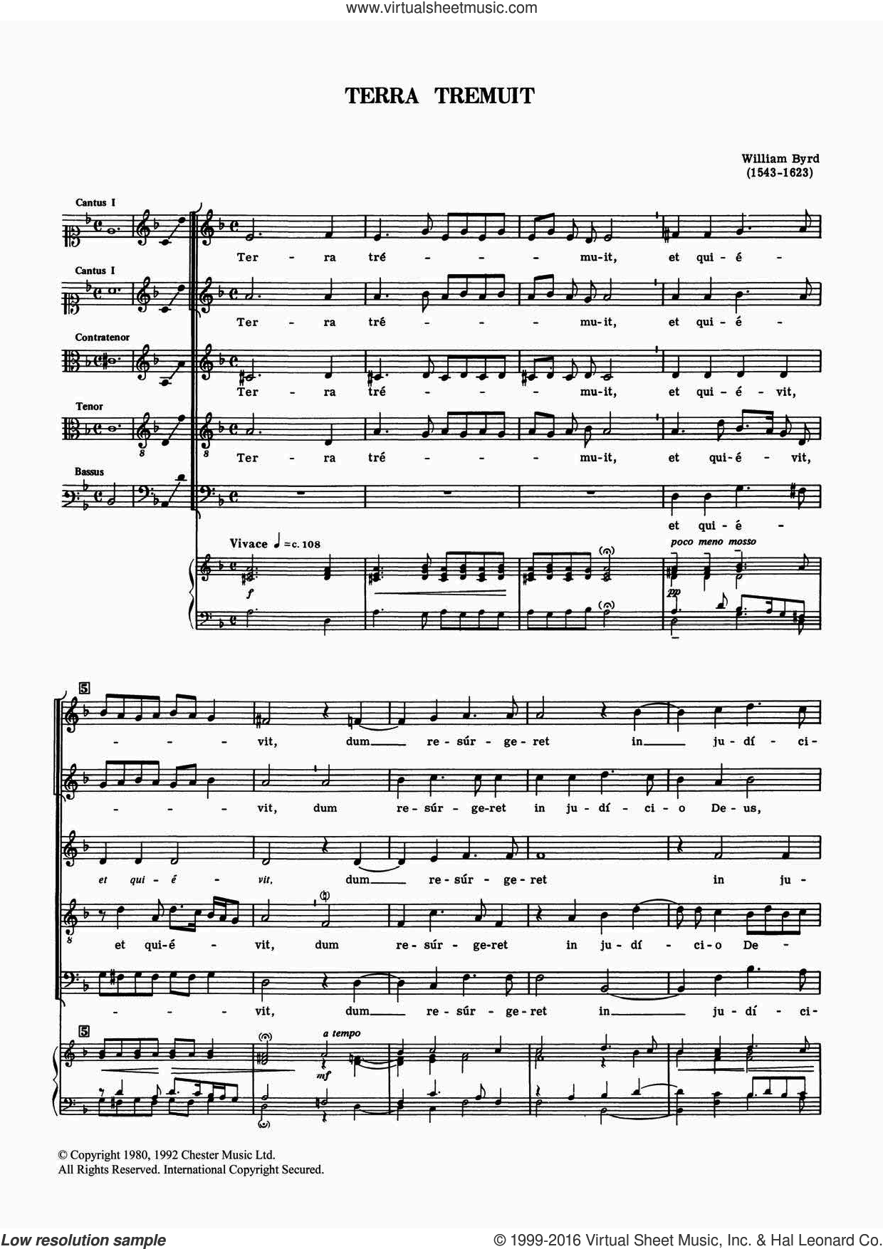 Terra Tremuit sheet music for voice, piano or guitar by William Byrd, classical score, intermediate. Score Image Preview.