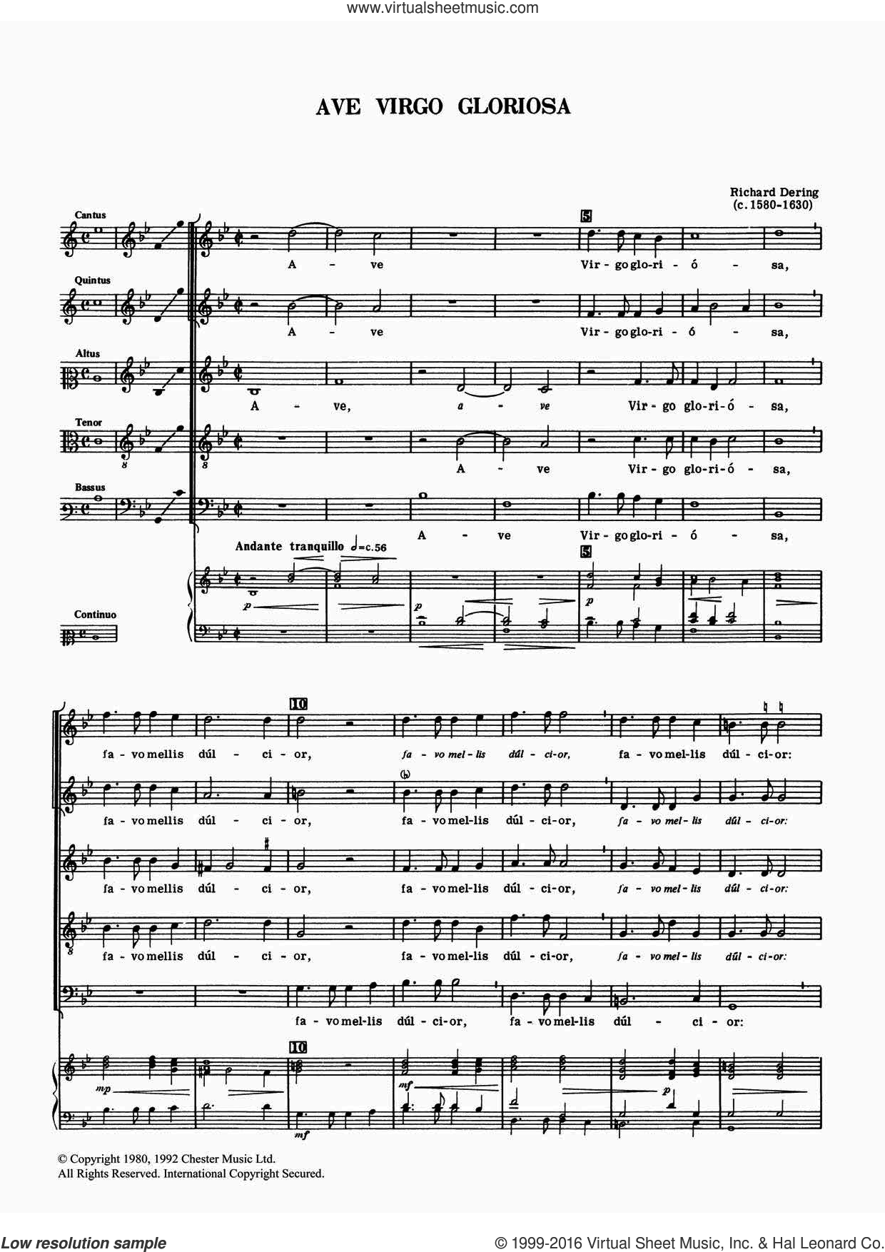 Ave Virgo Gloriosa sheet music for voice, piano or guitar by Richard Dering. Score Image Preview.
