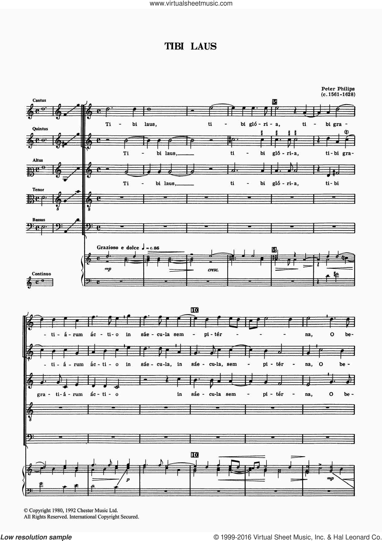 Tibi Laus sheet music for voice, piano or guitar by Peter Philips. Score Image Preview.
