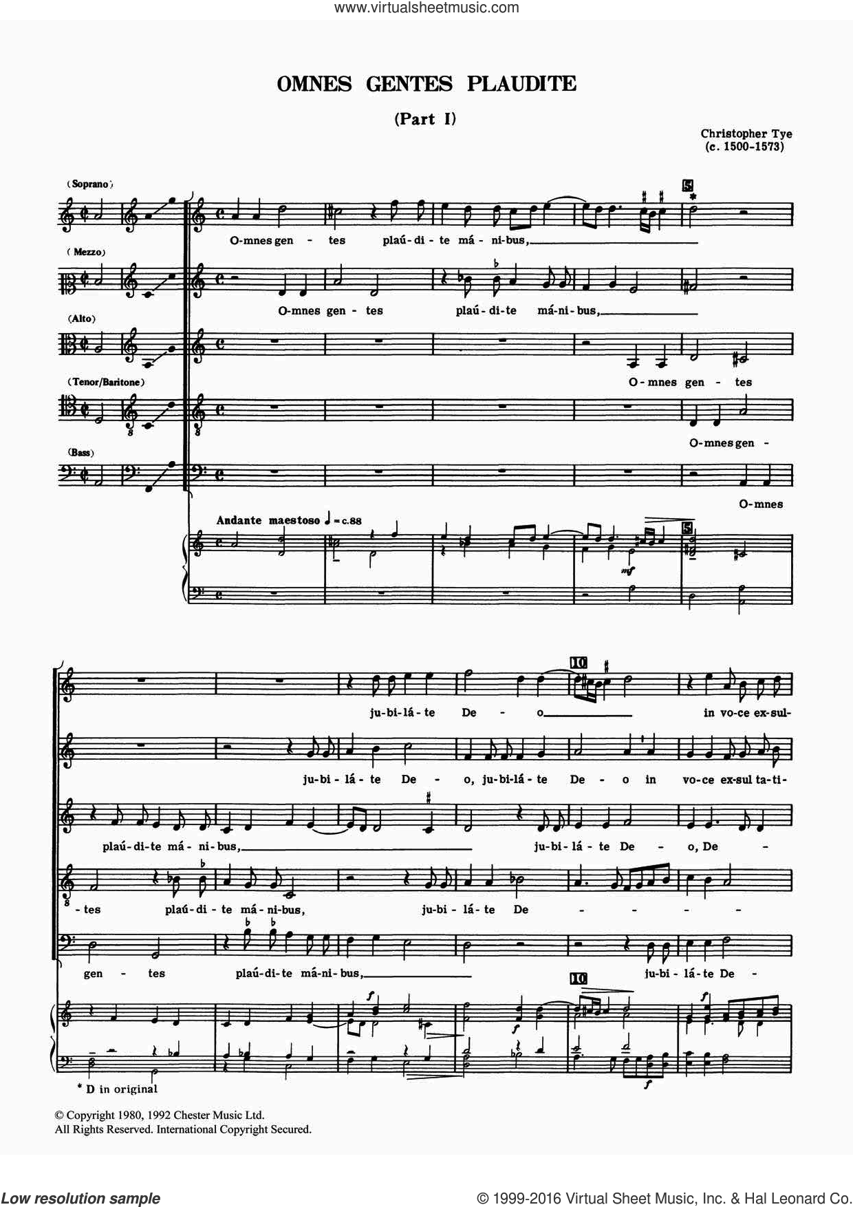 Omnes Gentes Plaudite (Parts I And II) sheet music for voice, piano or guitar by Christopher Tye. Score Image Preview.
