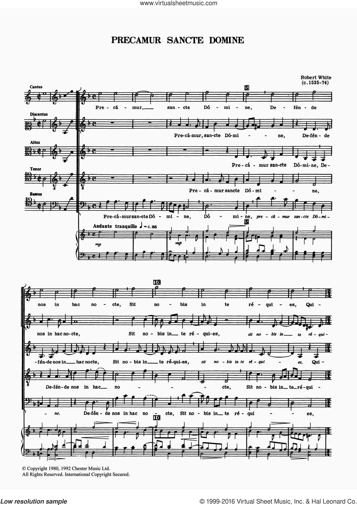 Precamur Sancte Domine sheet music for voice, piano or guitar by Robert White, classical score, intermediate skill level