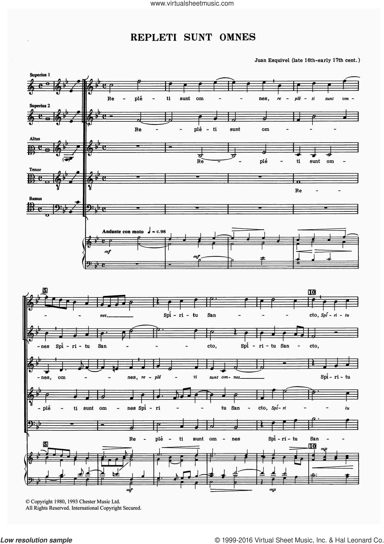 Repleti Sunt Omnes sheet music for voice, piano or guitar by Juan Esquivel, classical score, intermediate