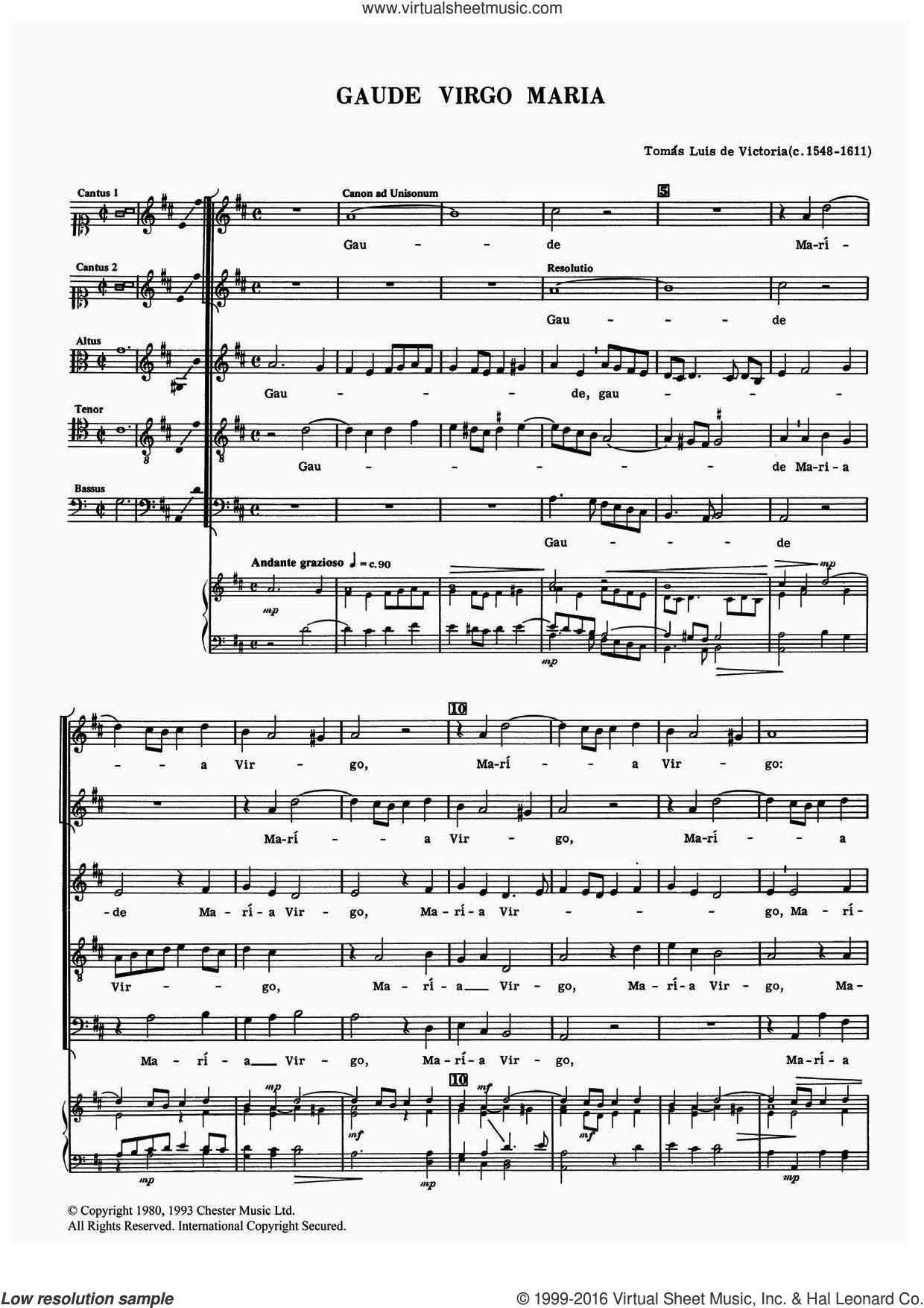 Gaude Virgo Maria sheet music for voice, piano or guitar by Tomàs Luis de Victoria and Tomas Luis De Victoria, classical score, intermediate skill level