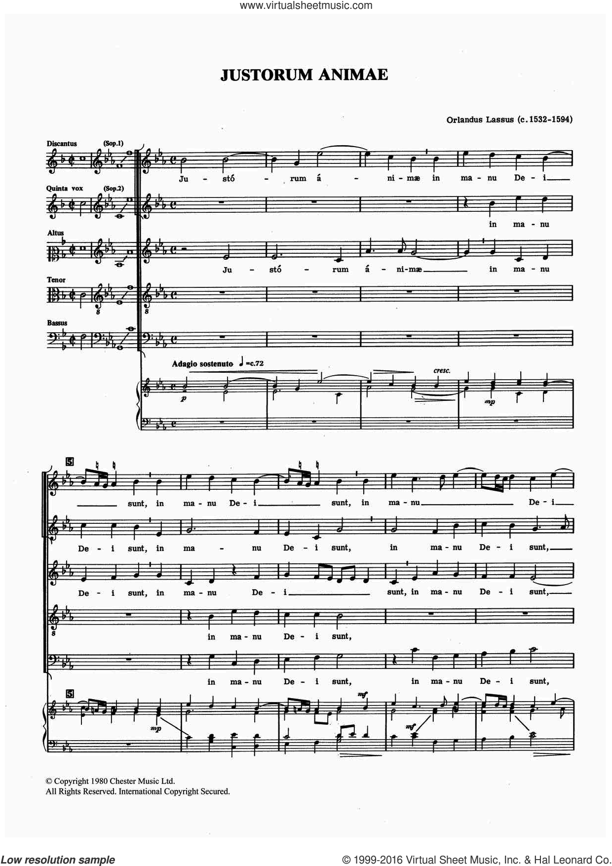 Justorum Animae sheet music for voice, piano or guitar by Orlandus Lassus. Score Image Preview.