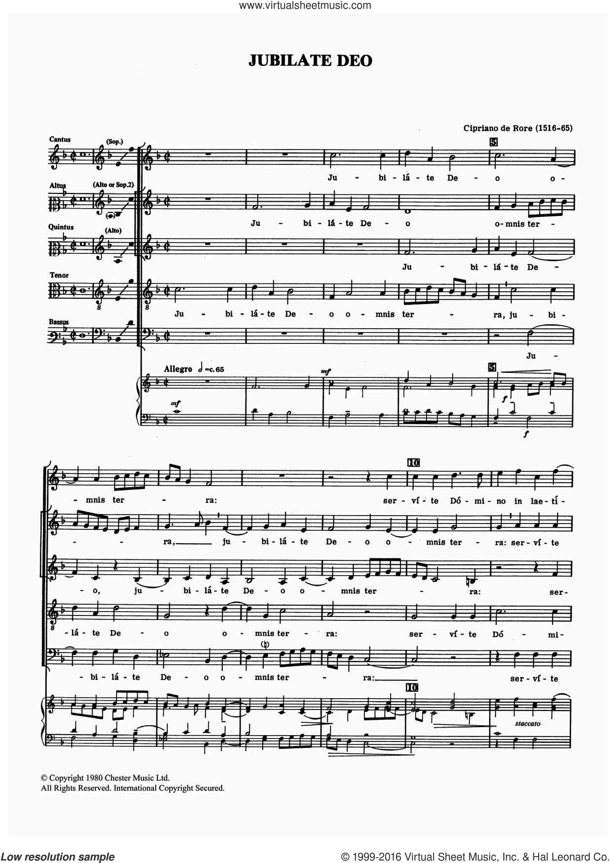 Jubilate Deo sheet music for voice, piano or guitar by Cipriano de Rore