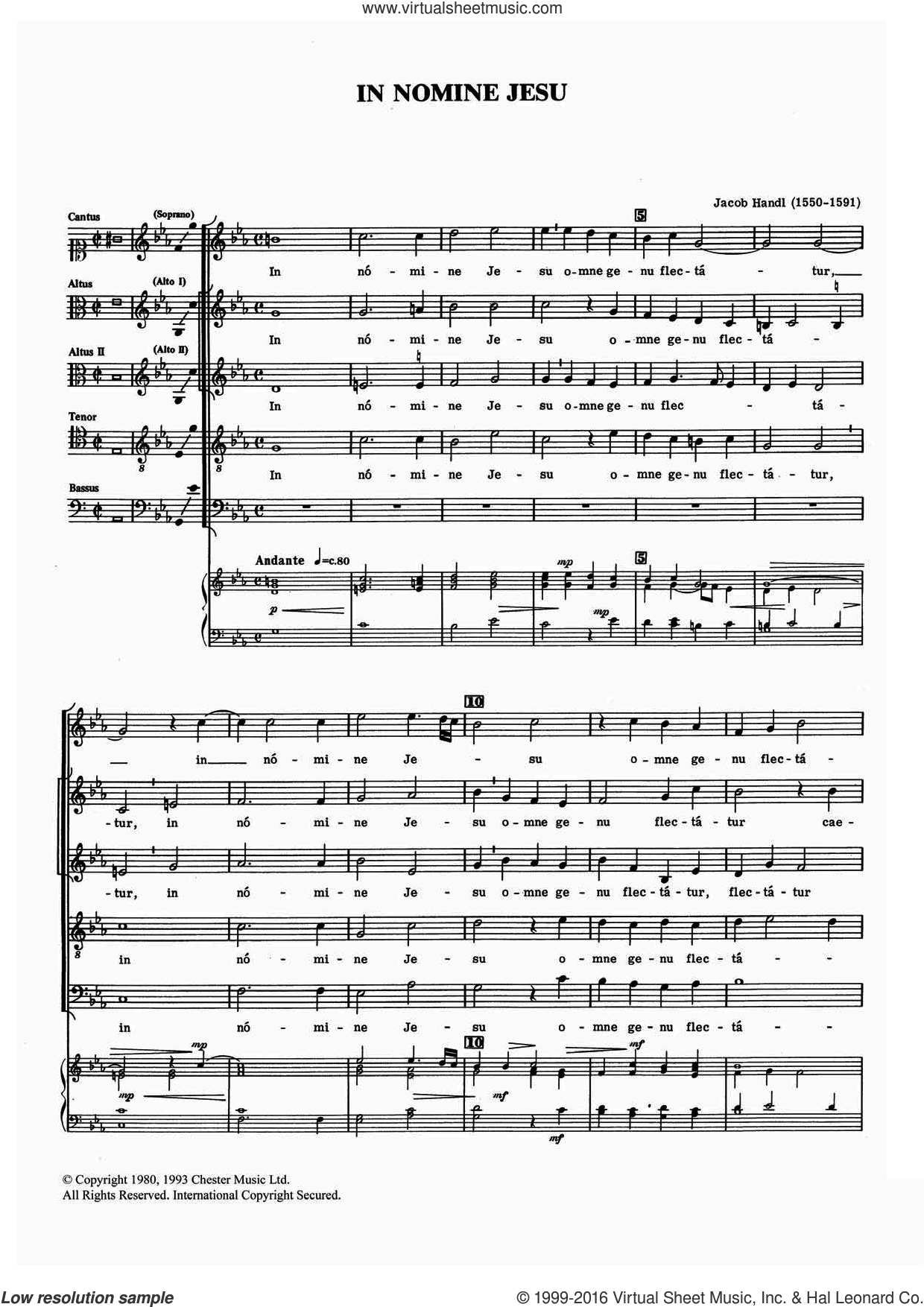 In Nomine Jesu sheet music for voice, piano or guitar by Jacob Handl. Score Image Preview.