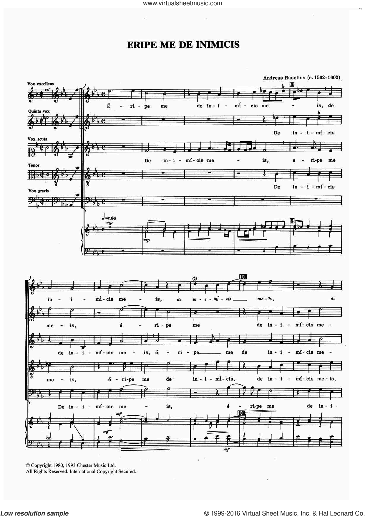 Eripe Me De Inimicis sheet music for voice, piano or guitar by Andreas Raselius, classical score, intermediate. Score Image Preview.