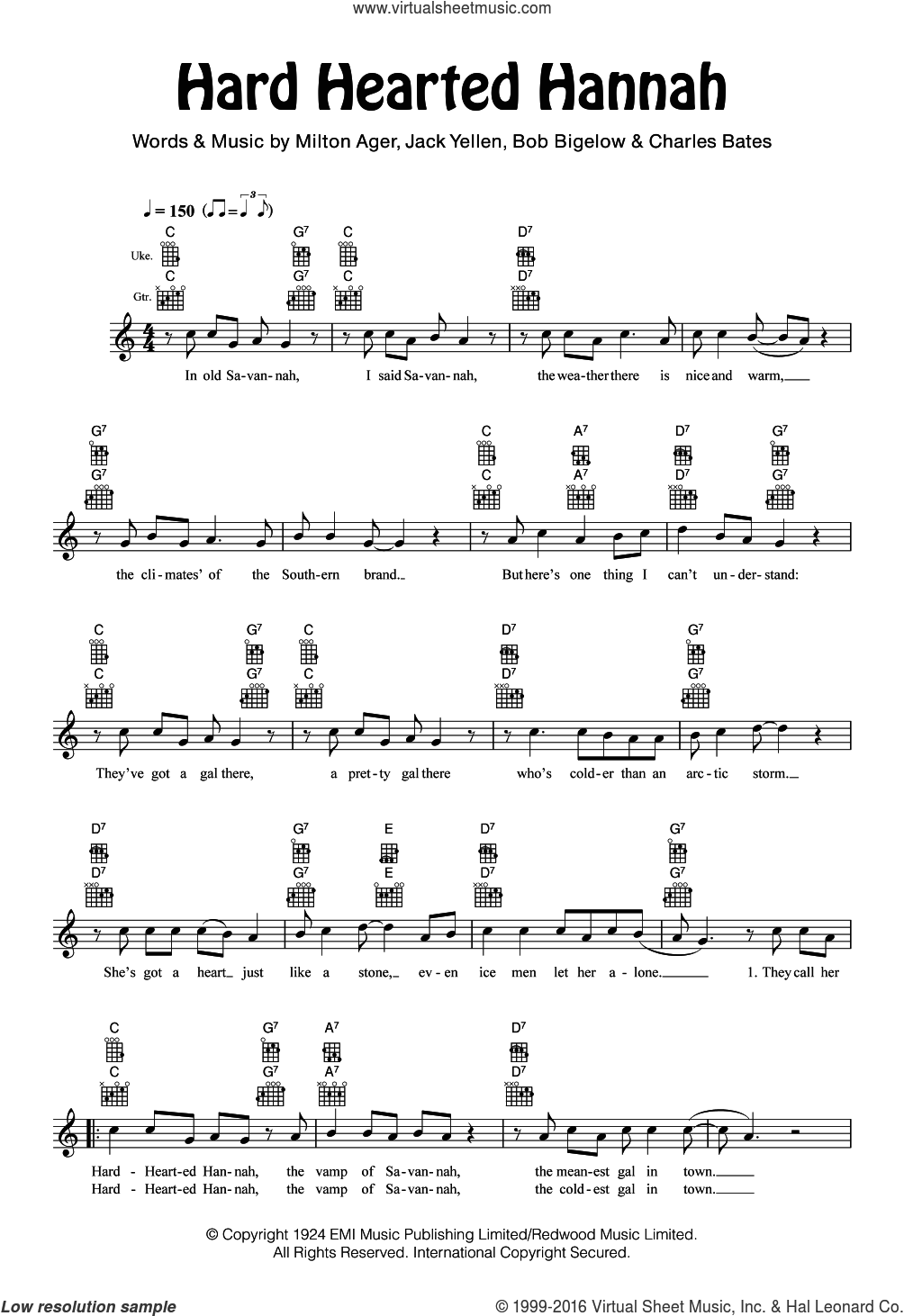 Hard Hearted Hannah sheet music for ukulele by Cliff Edwards, Bob Bigelow, Charles Bates, Jack Yellen and Milton Ager, intermediate. Score Image Preview.