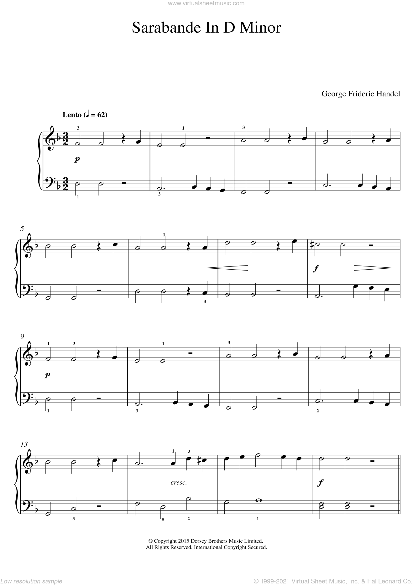 Sarabande (from Harpsichord Suite in D Minor) sheet music for voice, piano or guitar by George Frideric Handel, classical score, intermediate skill level