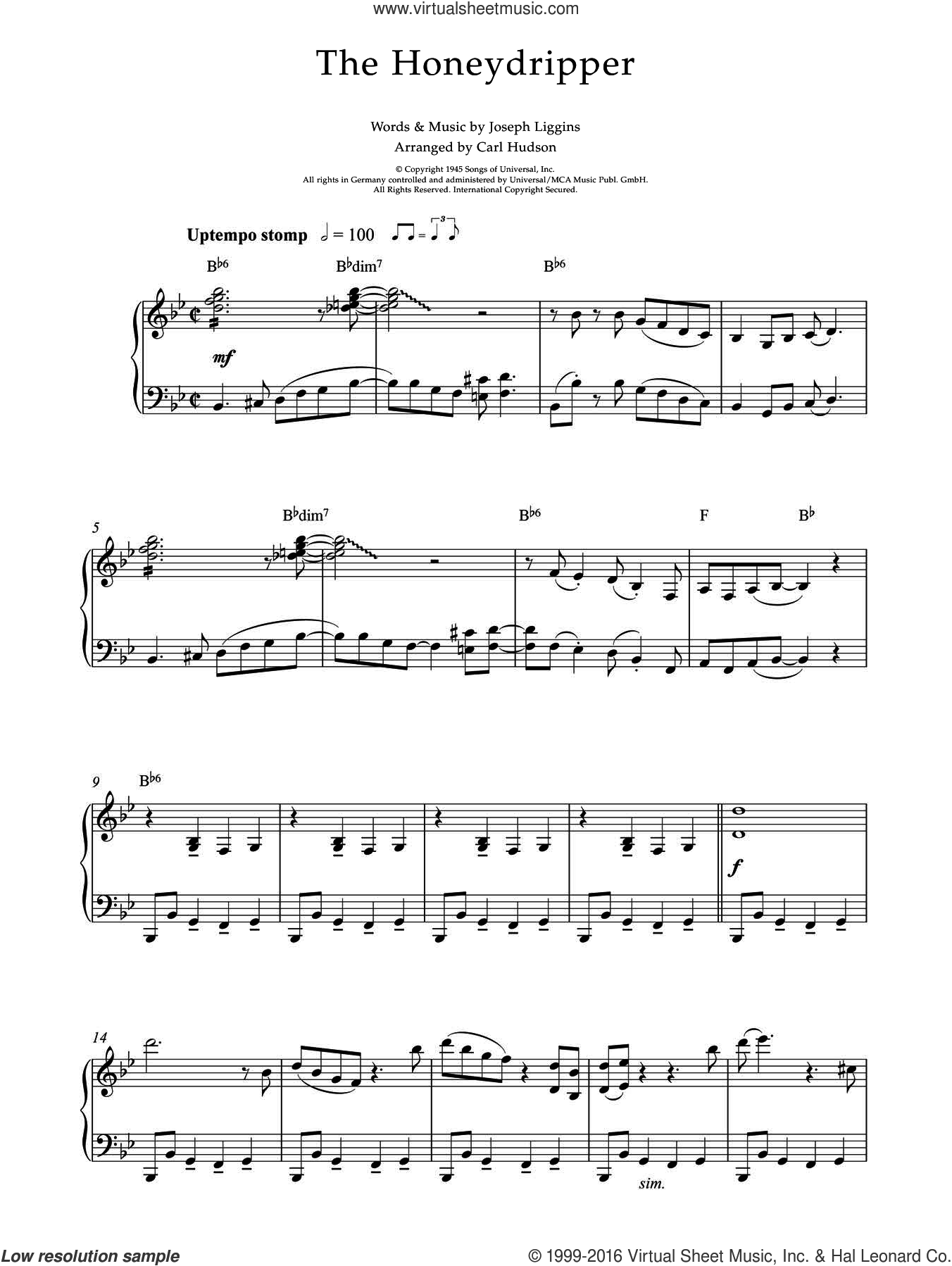 The Honeydripper sheet music for piano solo by Earl Hines, intermediate. Score Image Preview.