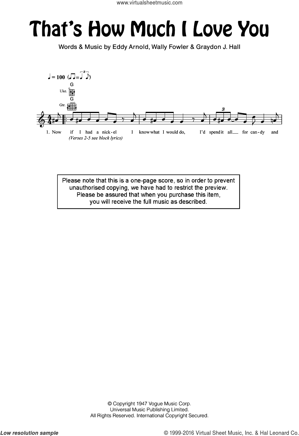 That's How Much I Love You sheet music for ukulele by Eddy Arnold, Graydon J. Hall and Wally Fowler, intermediate skill level