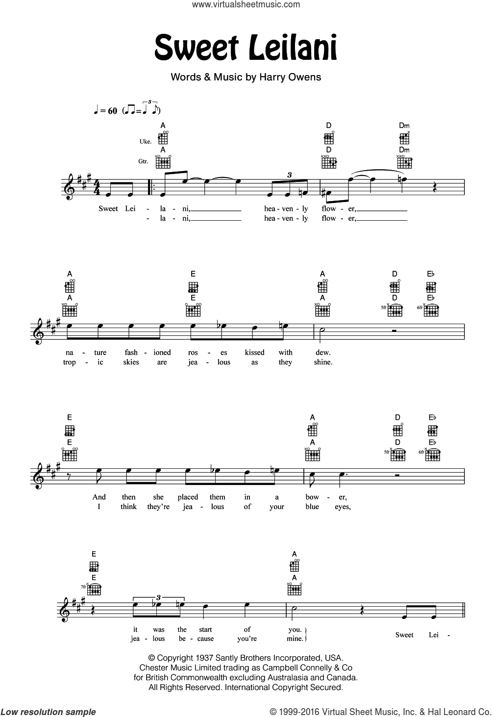 Sweet Leilani sheet music for ukulele by Bing Crosby and Harry Owens, intermediate skill level
