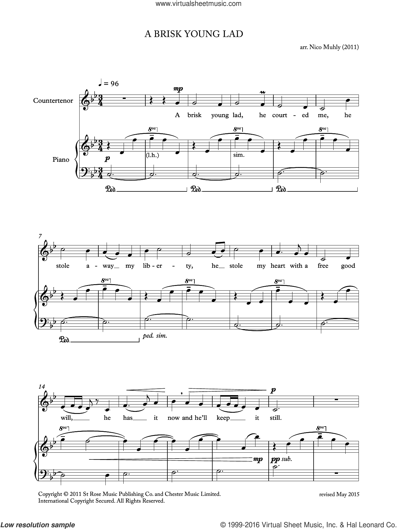 A Brisk Young Lad (from 'Four Traditional Songs') sheet music for voice, piano or guitar by Nico Muhly, classical score, intermediate skill level