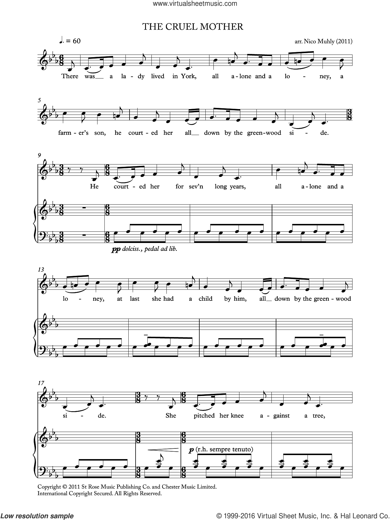 The Cruel Mother (from 'Four Traditional Songs') sheet music for voice, piano or guitar by Nico Muhly, classical score, intermediate skill level