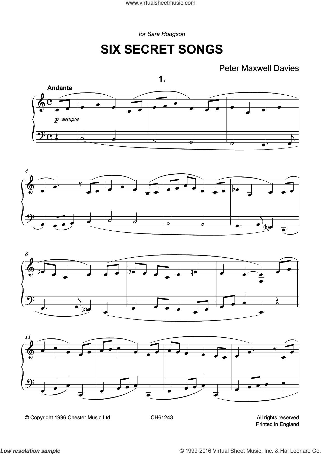 Six Secret Songs sheet music for piano solo by Peter Maxwell Davies, classical score, intermediate piano. Score Image Preview.