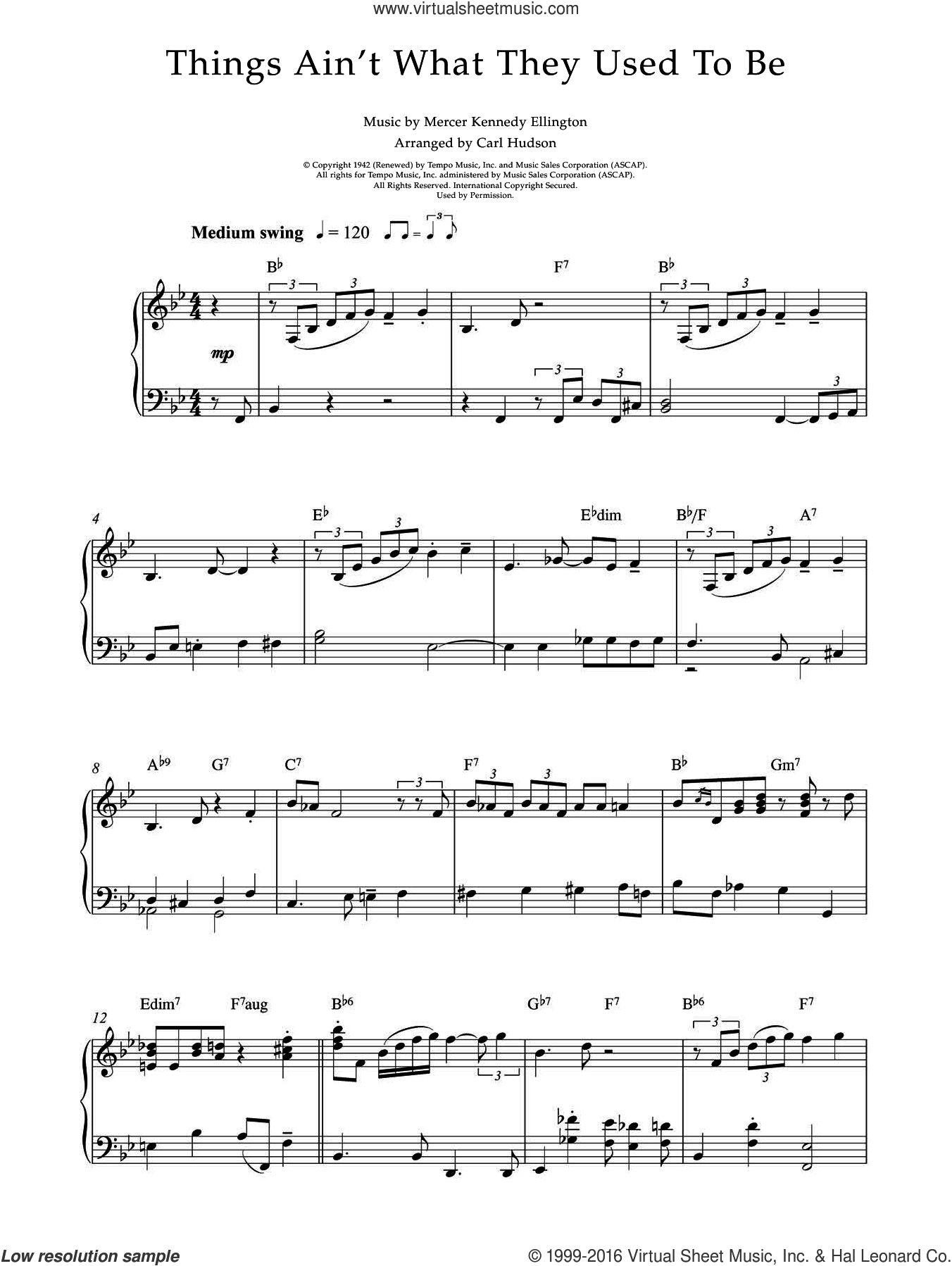 Things Ain't What They Used To Be sheet music for piano solo by Earl Hines and Mercer Ellington, intermediate skill level
