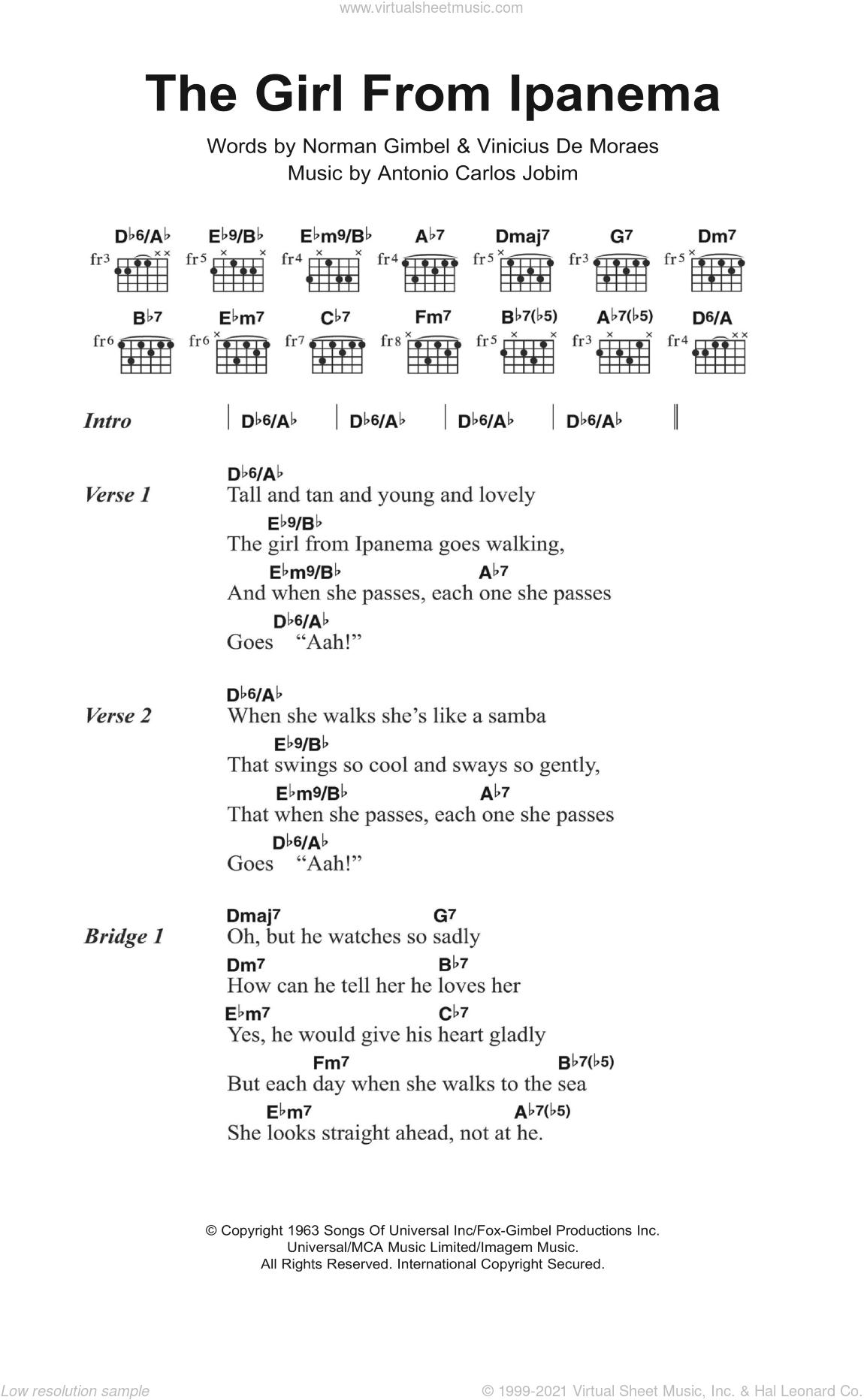 The Girl From Ipanema (featuring Astrud Gilberto) sheet music for guitar (chords) by Joao Gilberto, Astrud Gilberto, Stan Getz, Antonio Carlos Jobim, Norman Gimbel and Vinicius de Moraes, intermediate skill level
