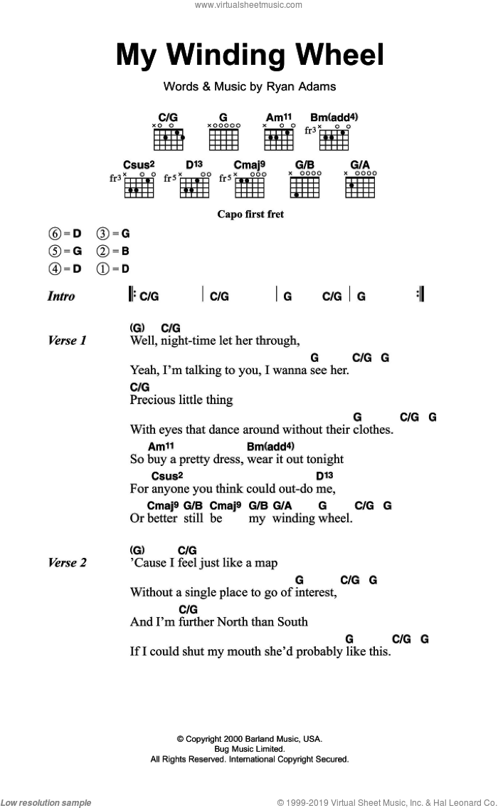 Adams - My Winding Wheel sheet music for guitar (chords) [PDF]