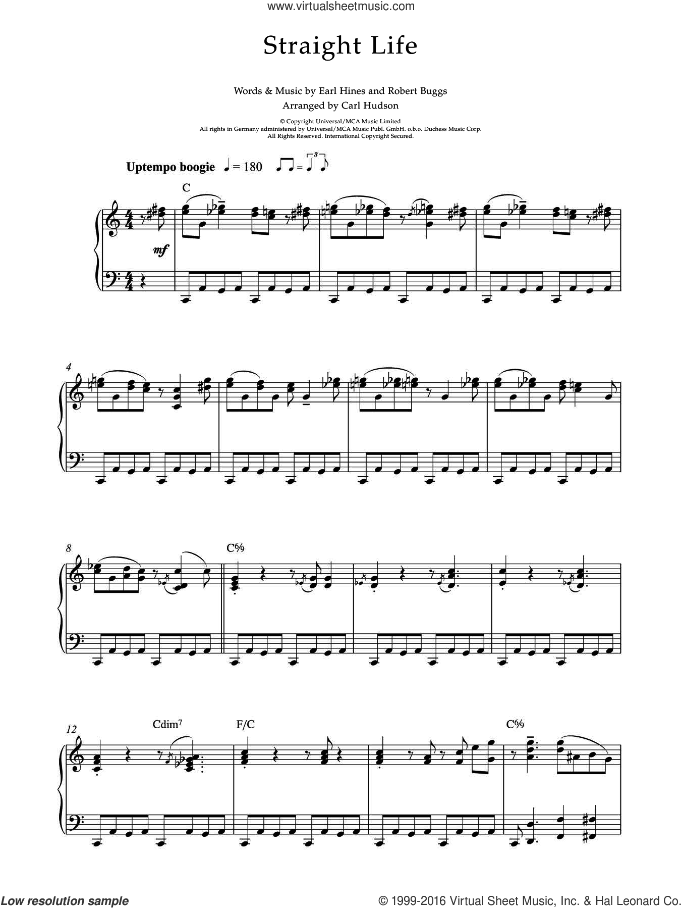 Straight Life sheet music for piano solo by Earl Hines and Roberts Buggs, intermediate skill level