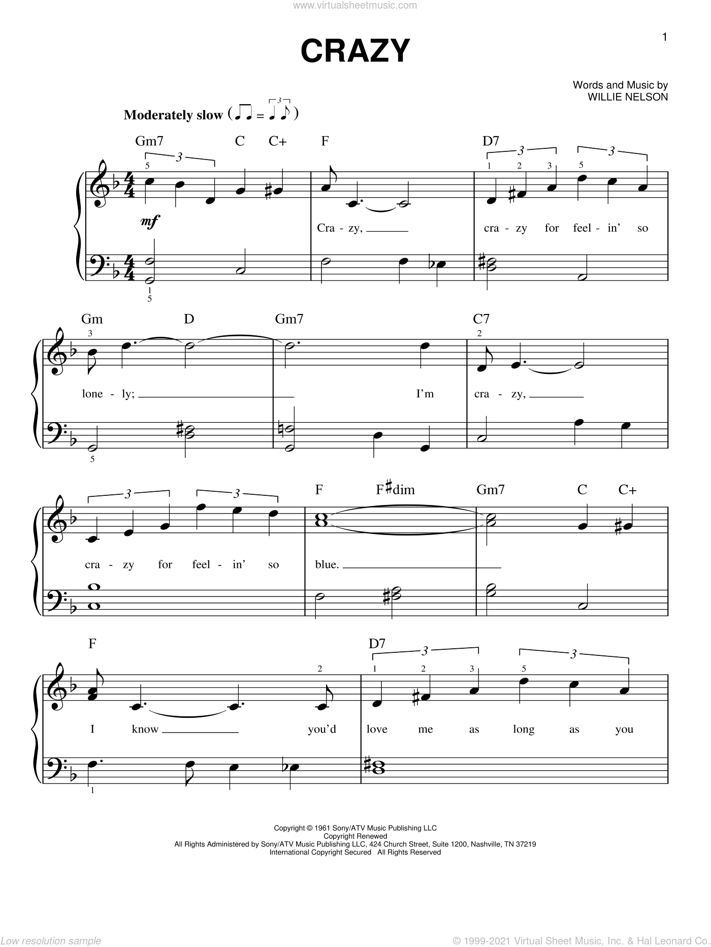 Crazy, (beginner) sheet music for piano solo by Willie Nelson and Patsy Cline, beginner skill level