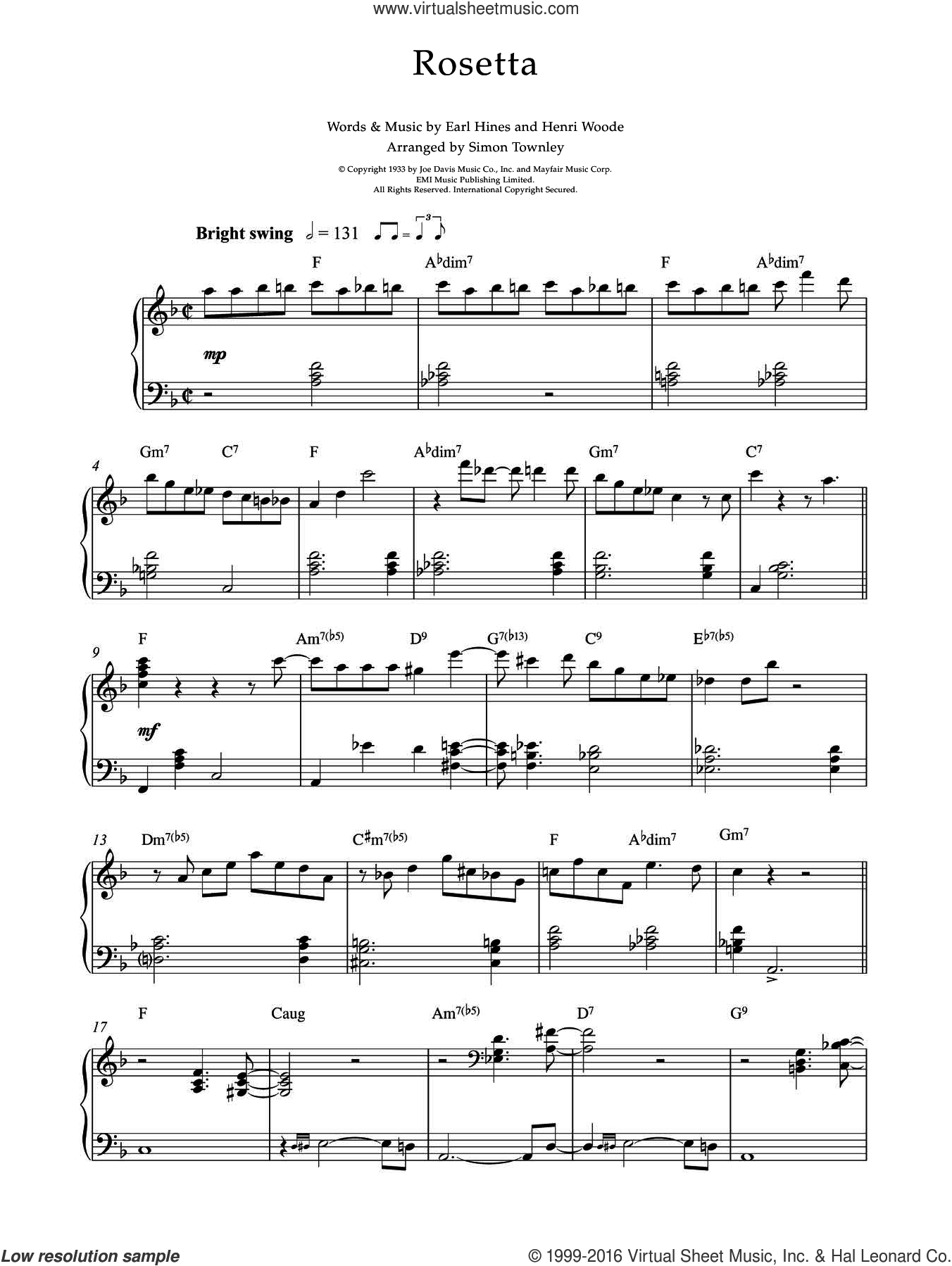 Rosetta sheet music for piano solo by Earl Hines and Henri Woode, intermediate skill level