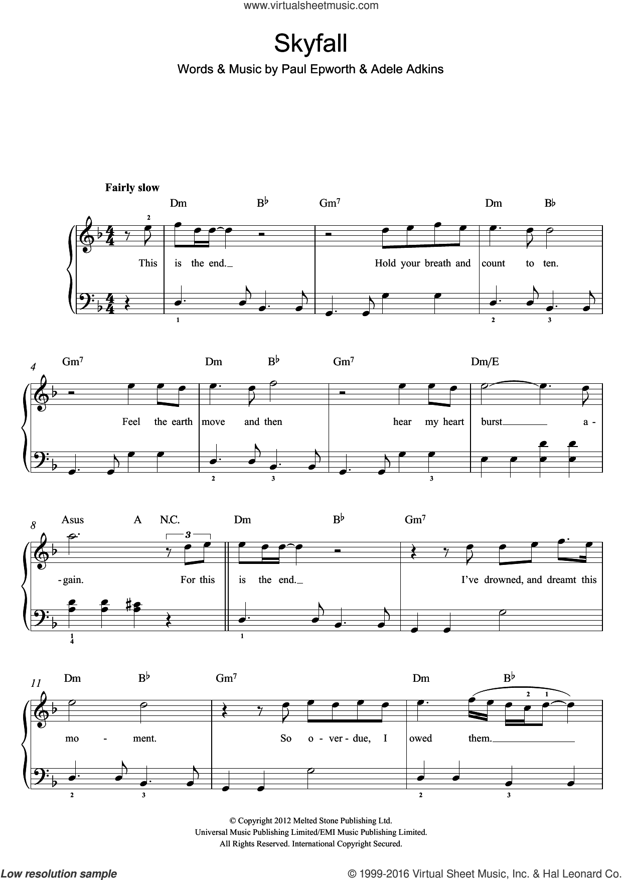 Skyfall (from the Motion Picture Skyfall) sheet music for voice, piano or guitar by Adele, Adele Adkins and Paul Epworth, intermediate skill level