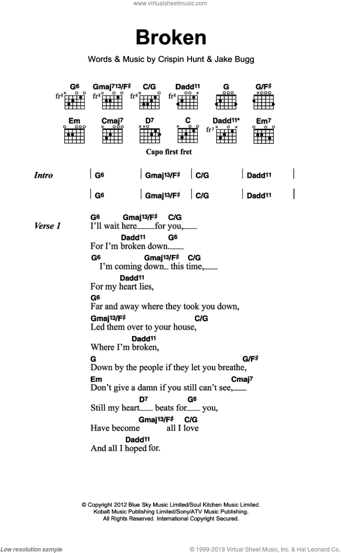 Broken sheet music for guitar (chords) by Jake Bugg and Crispin Hunt, intermediate skill level