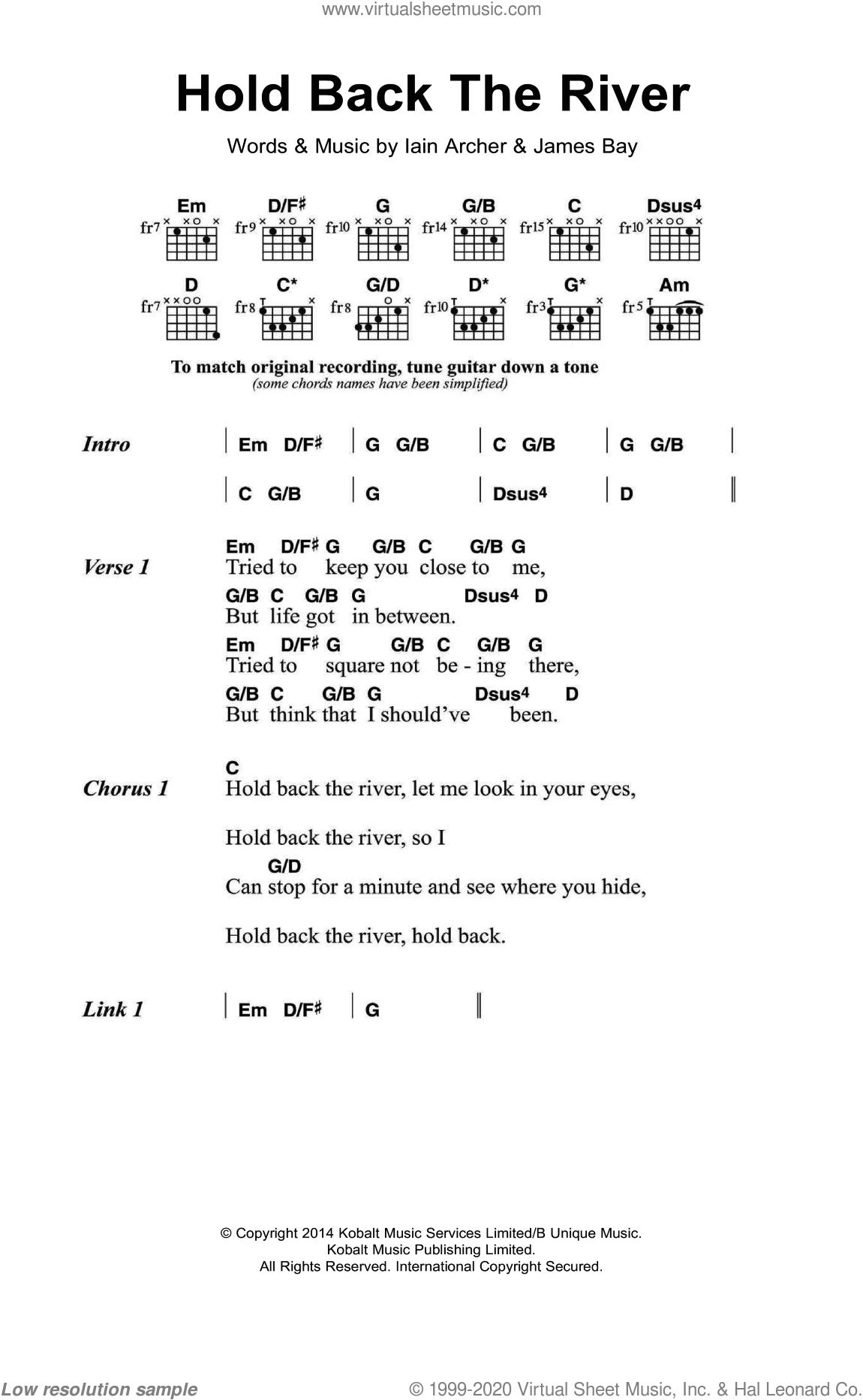 Hold Back The River sheet music for guitar (chords) by James Bay and Iain Archer, intermediate. Score Image Preview.