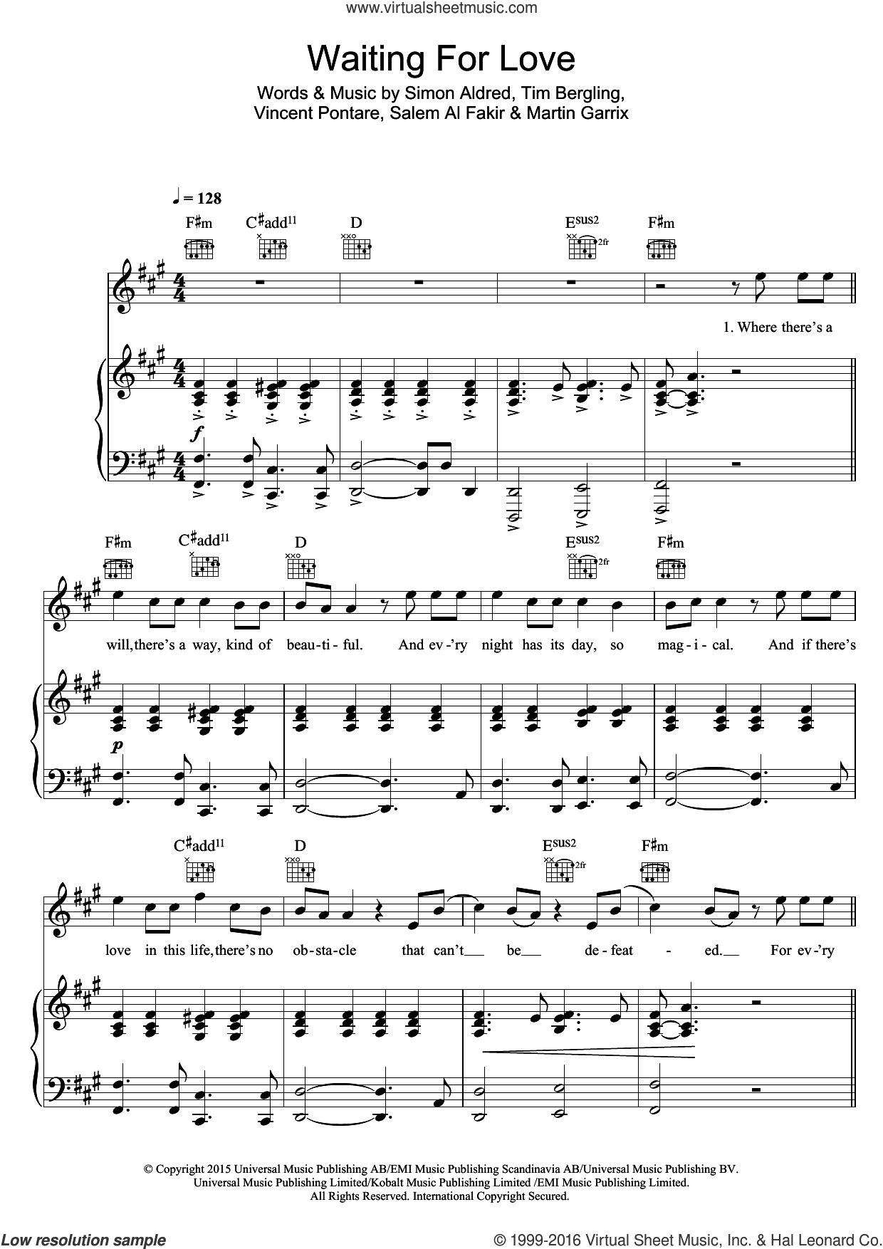 Waiting For Love sheet music for voice, piano or guitar by Avicii, Martin Garrix, Salem Al Fakir, Simon Aldred, Tim Bergling and Vincent Pontare, intermediate skill level