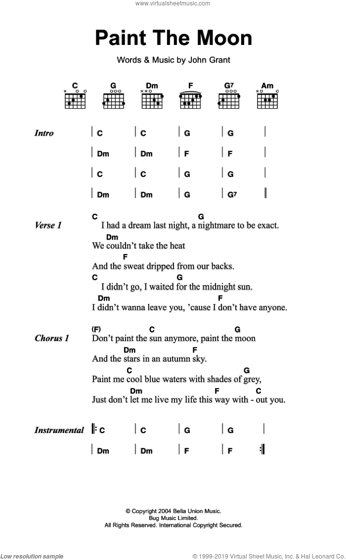 Czars - Paint The Moon sheet music for guitar (chords) [PDF]