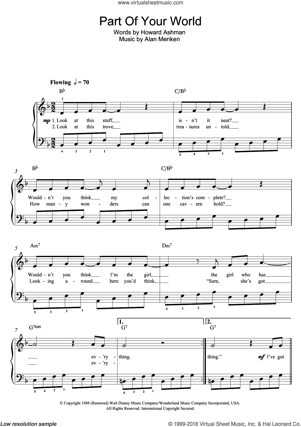 Part Of Your World (from The Little Mermaid) sheet music for piano solo (beginners) by Jodi Benson, Alan Menken and Howard Ashman, beginner piano (beginners)
