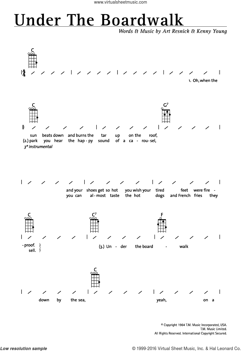Under The Boardwalk sheet music for ukulele (chords) by The Drifters, Art Resnick and Kenny Young, intermediate skill level