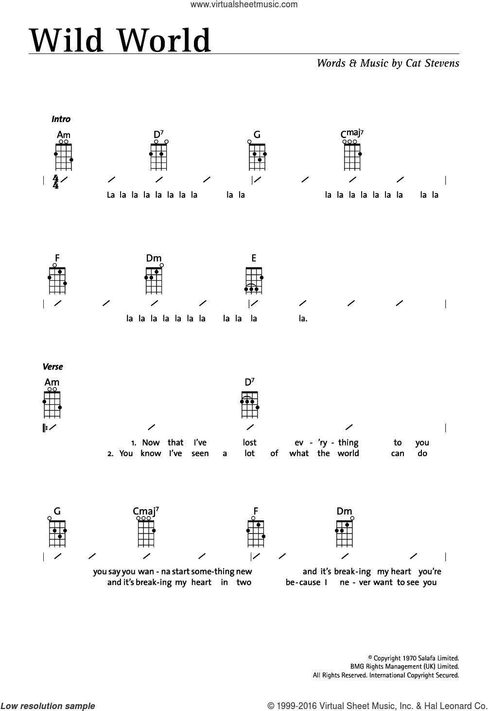 Stevens Wild World Sheet Music For Ukulele Chords Pdf