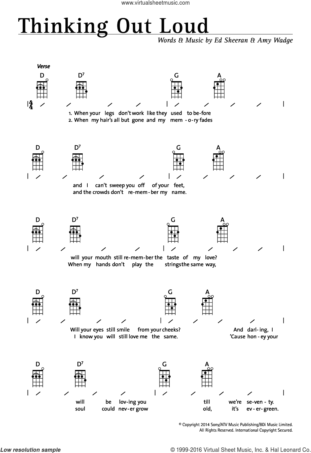 Thinking Out Loud sheet music for ukulele (chords) by Ed Sheeran and Amy Wadge, intermediate skill level