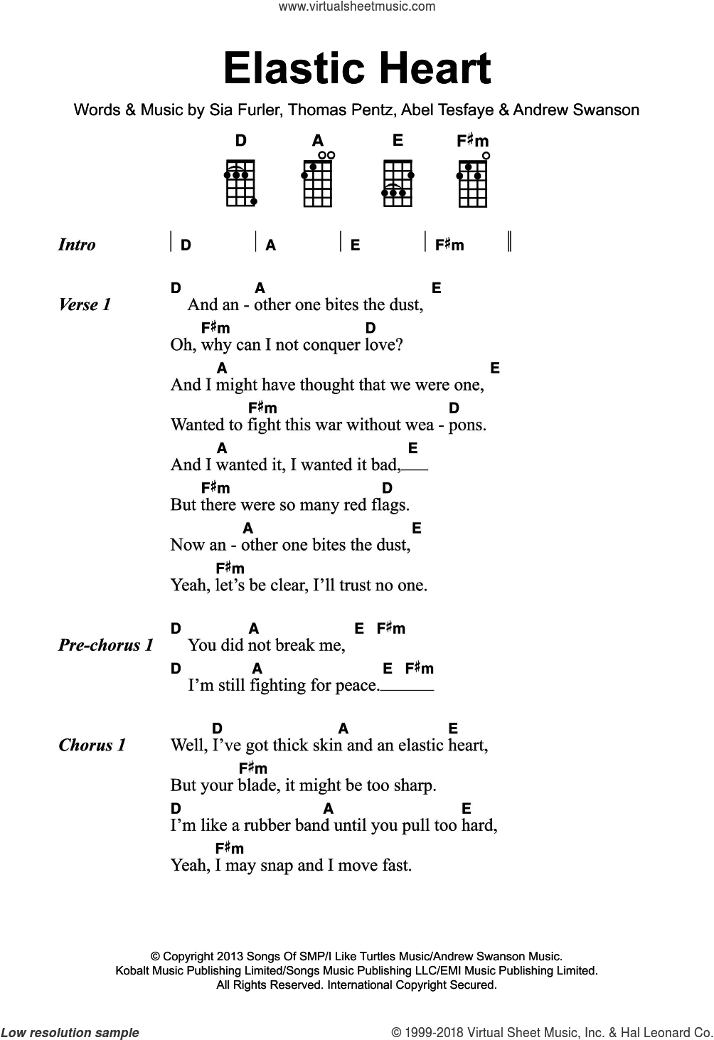 Elastic Heart sheet music for voice, piano or guitar by Sia, Abel Tesfaye, Andrew Swanson, Sia Furler and Thomas Wesley Pentz, intermediate skill level