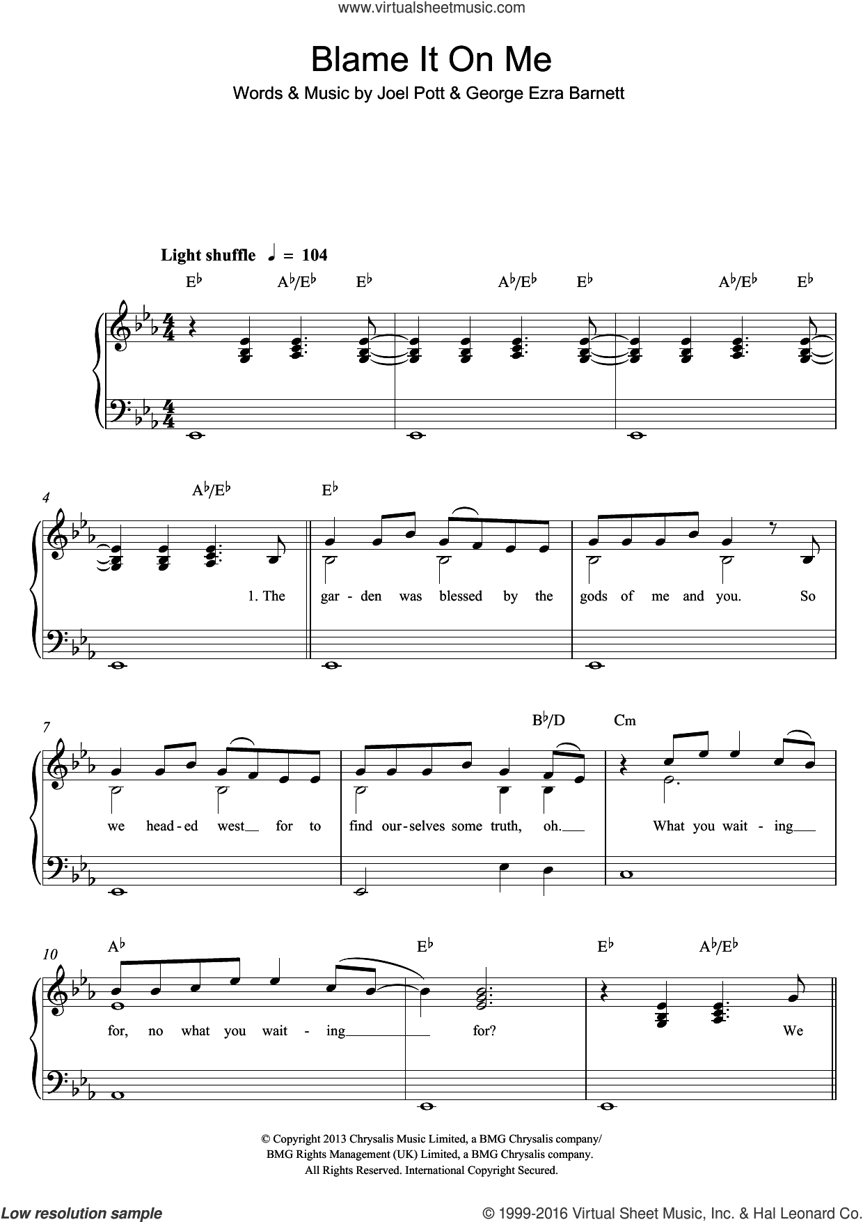 Blame It On Me sheet music for piano solo by George Ezra, George Ezra Barnett and Joel Pott, easy skill level