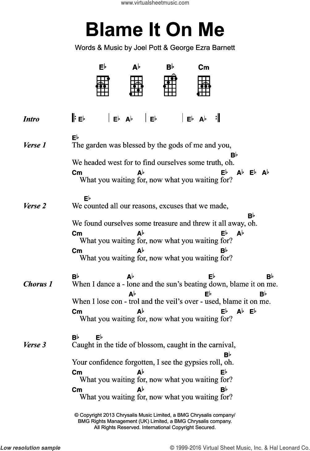 Blame It On Me sheet music for voice, piano or guitar by George Ezra, George Ezra Barnett and Joel Pott, intermediate skill level