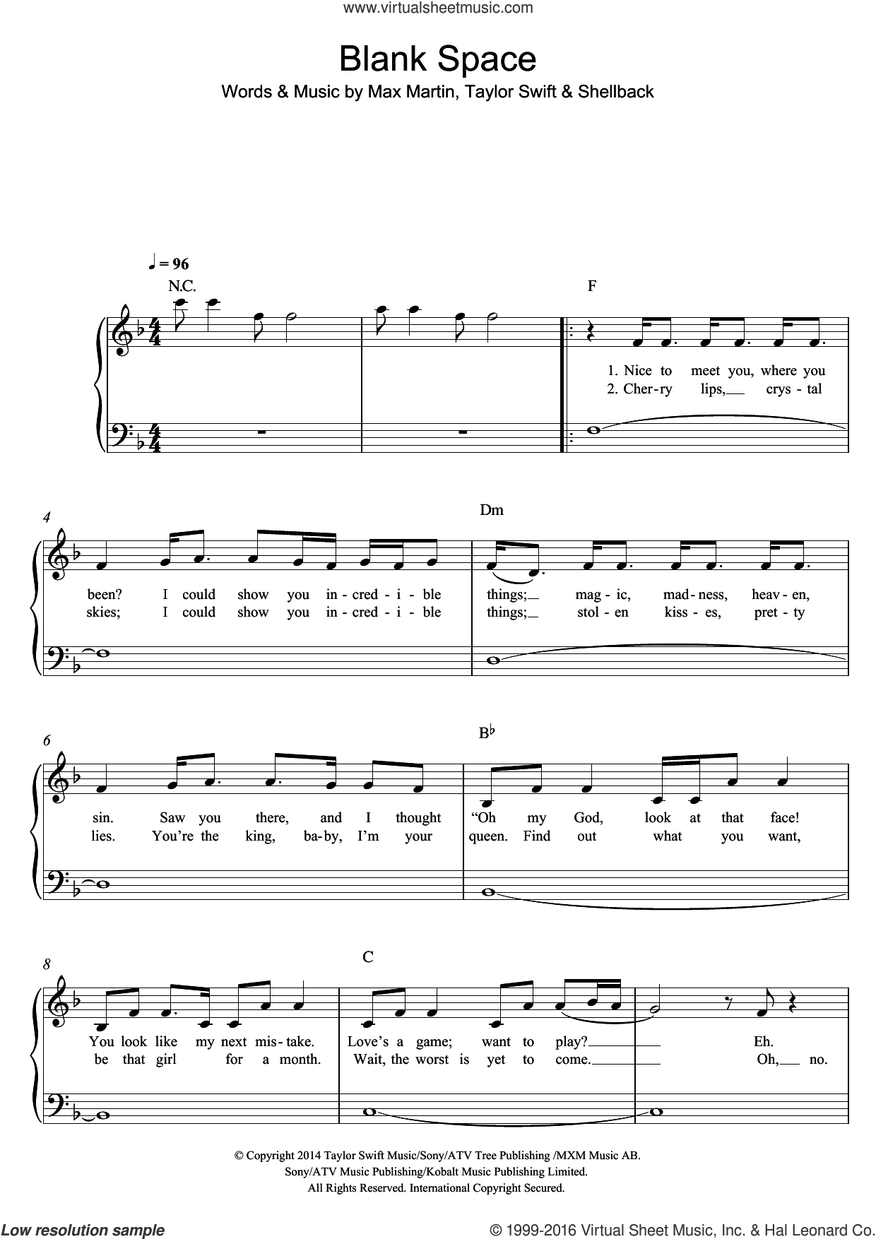 Blank Space sheet music for piano solo by Taylor Swift, Max Martin and Shellback, easy skill level