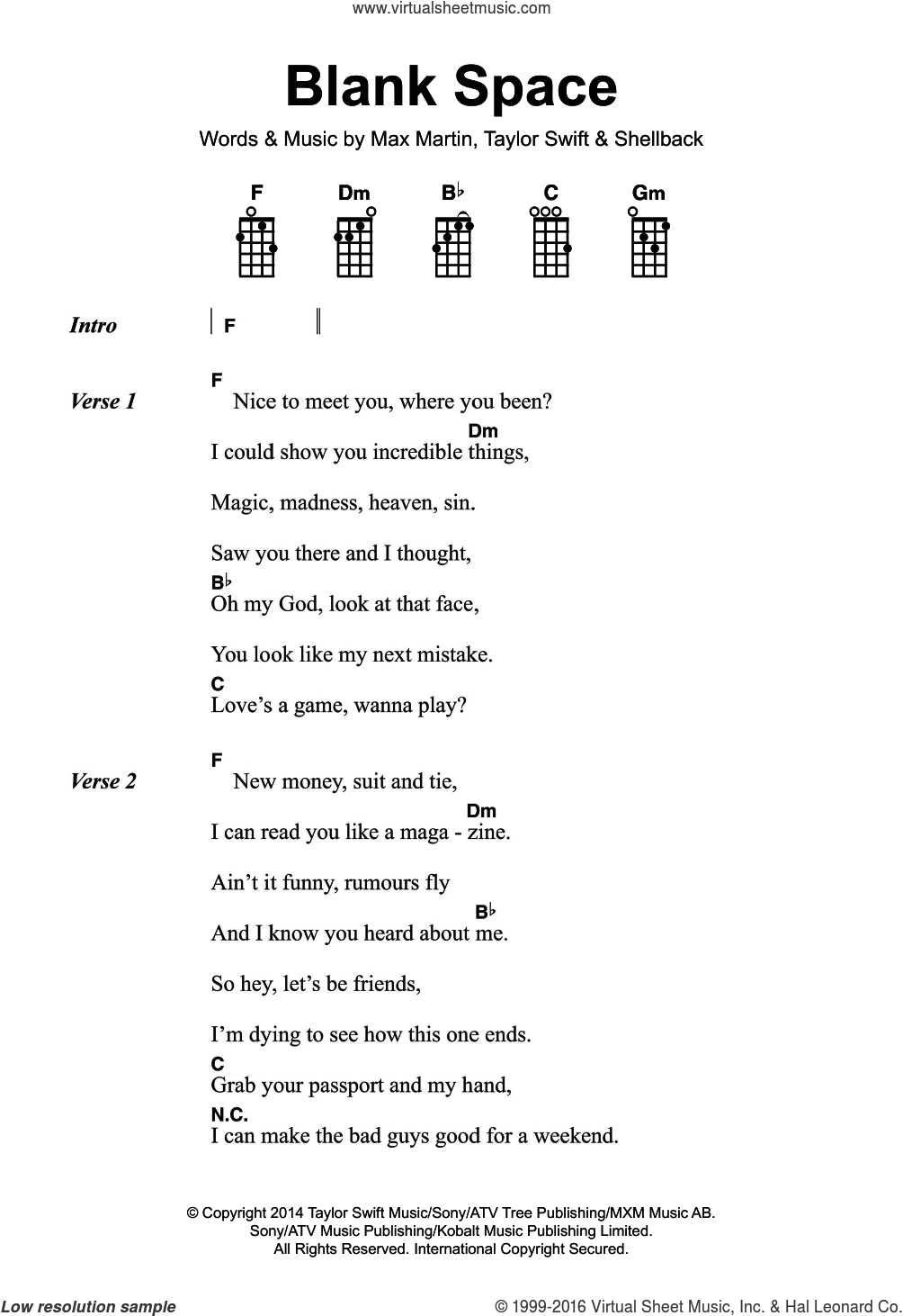 Blank Space sheet music for voice, piano or guitar by Taylor Swift, Max Martin and Shellback, intermediate skill level