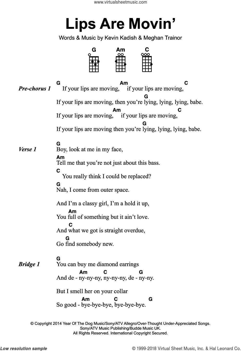 Lips Are Movin' sheet music for voice, piano or guitar by Meghan Trainor and Kevin Kadish, intermediate skill level