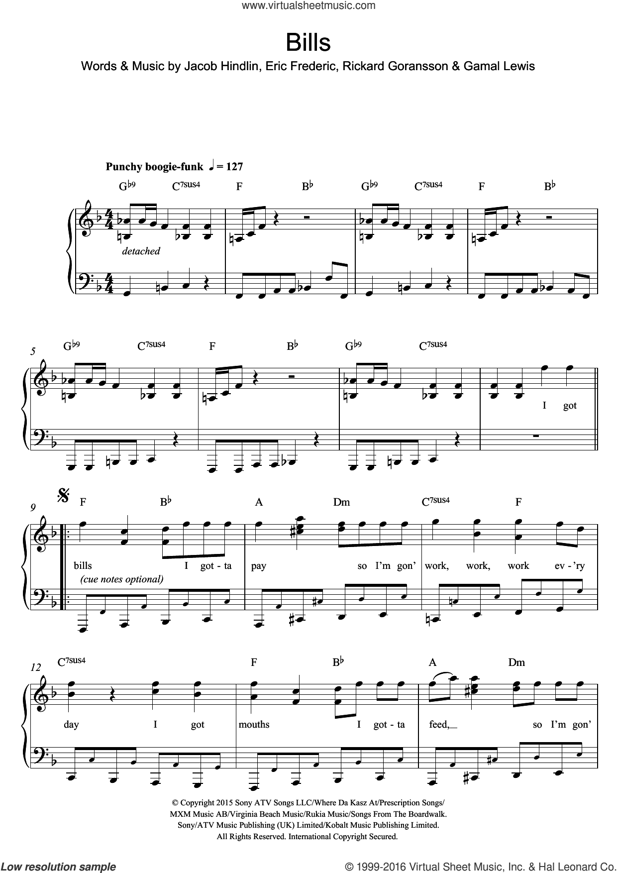 Bills sheet music for piano solo by Rickard Goransson, Eric Frederic and Jacob Hindlin. Score Image Preview.