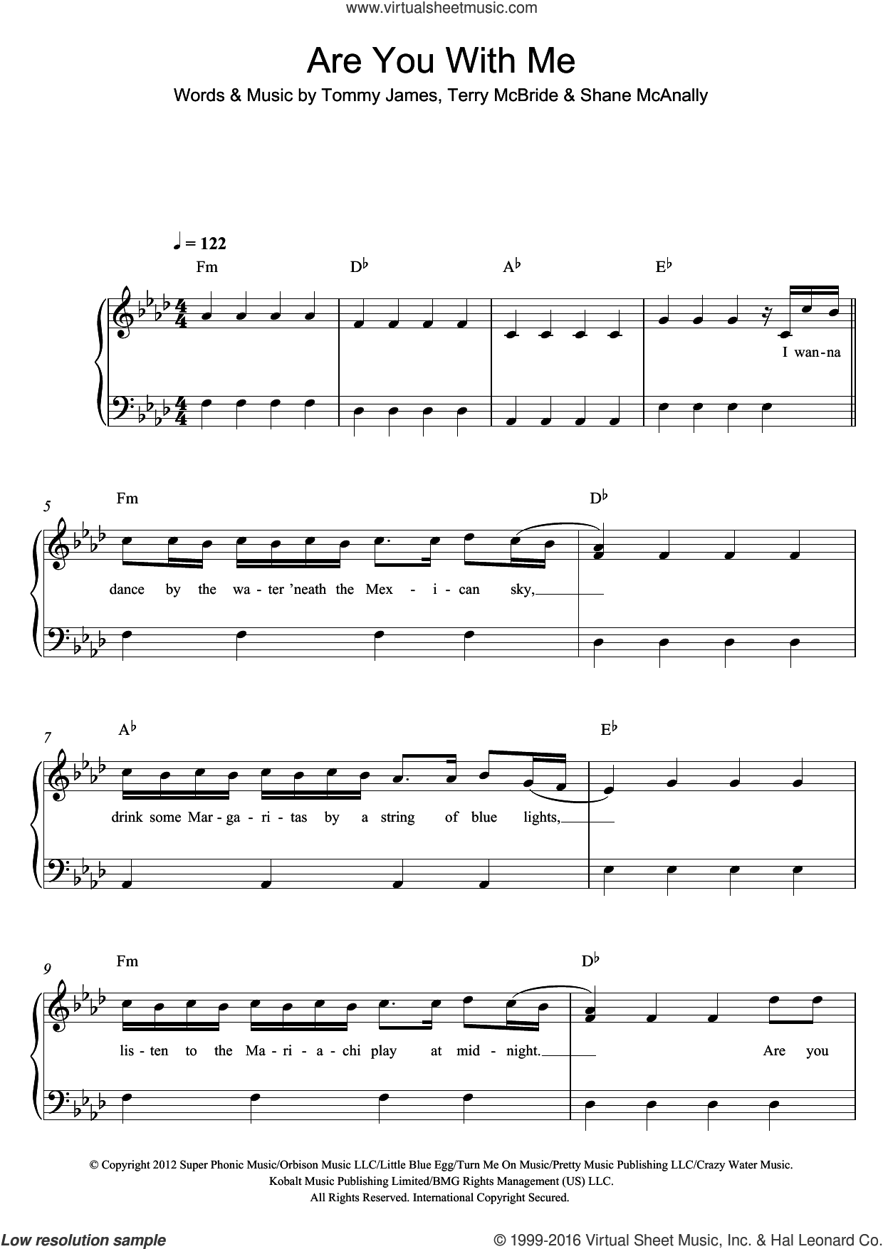 Are You With Me sheet music for piano solo by Lost Frequencies, Shane McAnally, Terry McBride and Tommy James, easy skill level