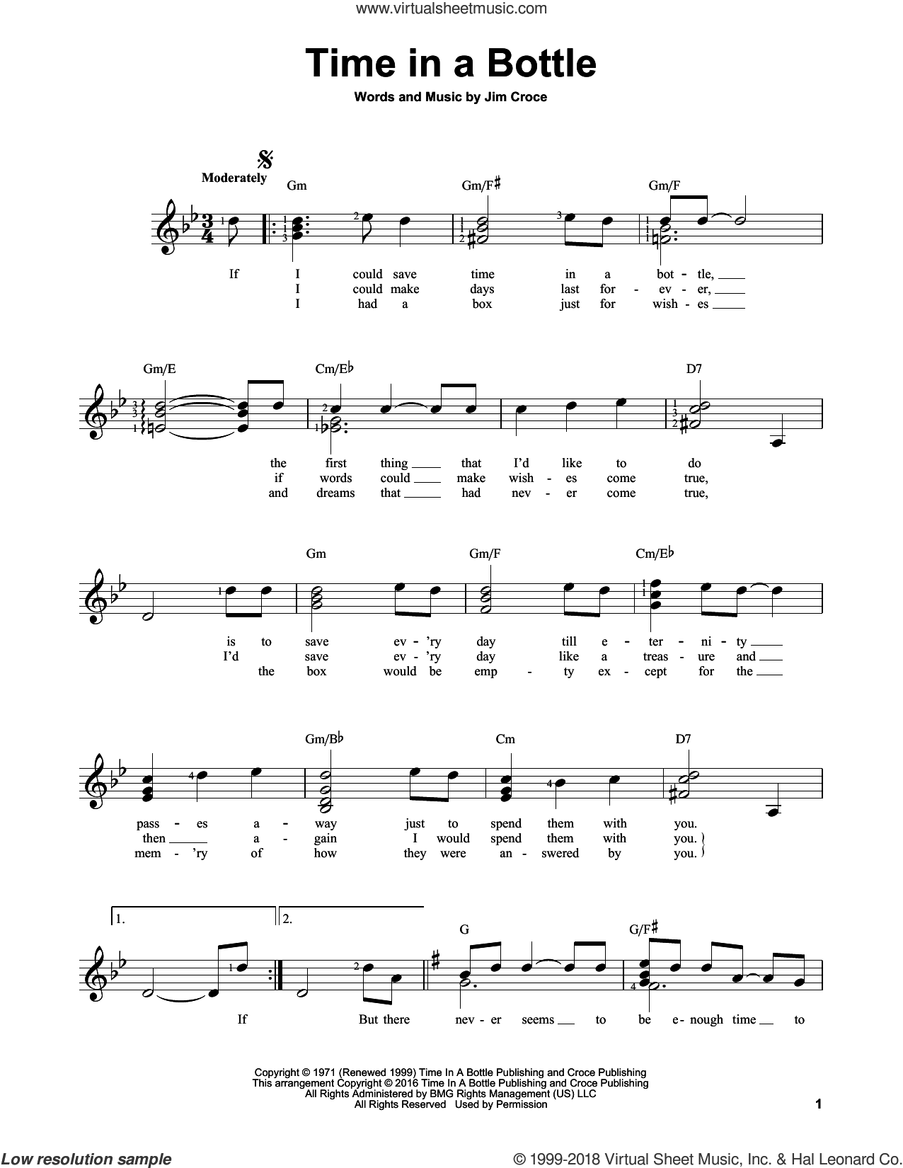 Time In A Bottle sheet music for guitar solo (chords) by Jim Croce, easy guitar (chords)
