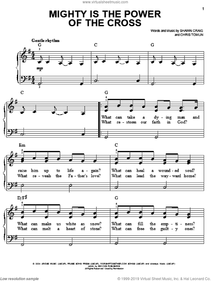 Mighty Is The Power Of The Cross sheet music for piano solo by Chris Tomlin and Shawn Craig, easy skill level