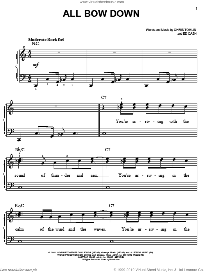 All Bow Down sheet music for piano solo by Chris Tomlin and Ed Cash, easy skill level