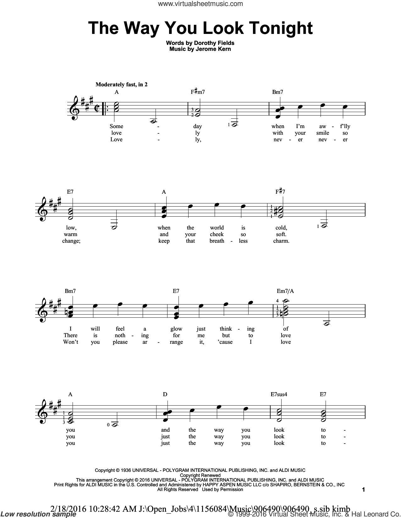 The Way You Look Tonight sheet music for guitar solo (chords) by Jerome Kern and Dorothy Fields, easy guitar (chords)
