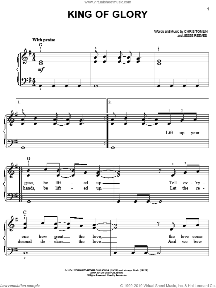 King Of Glory sheet music for piano solo by Chris Tomlin and Jesse Reeves, easy skill level