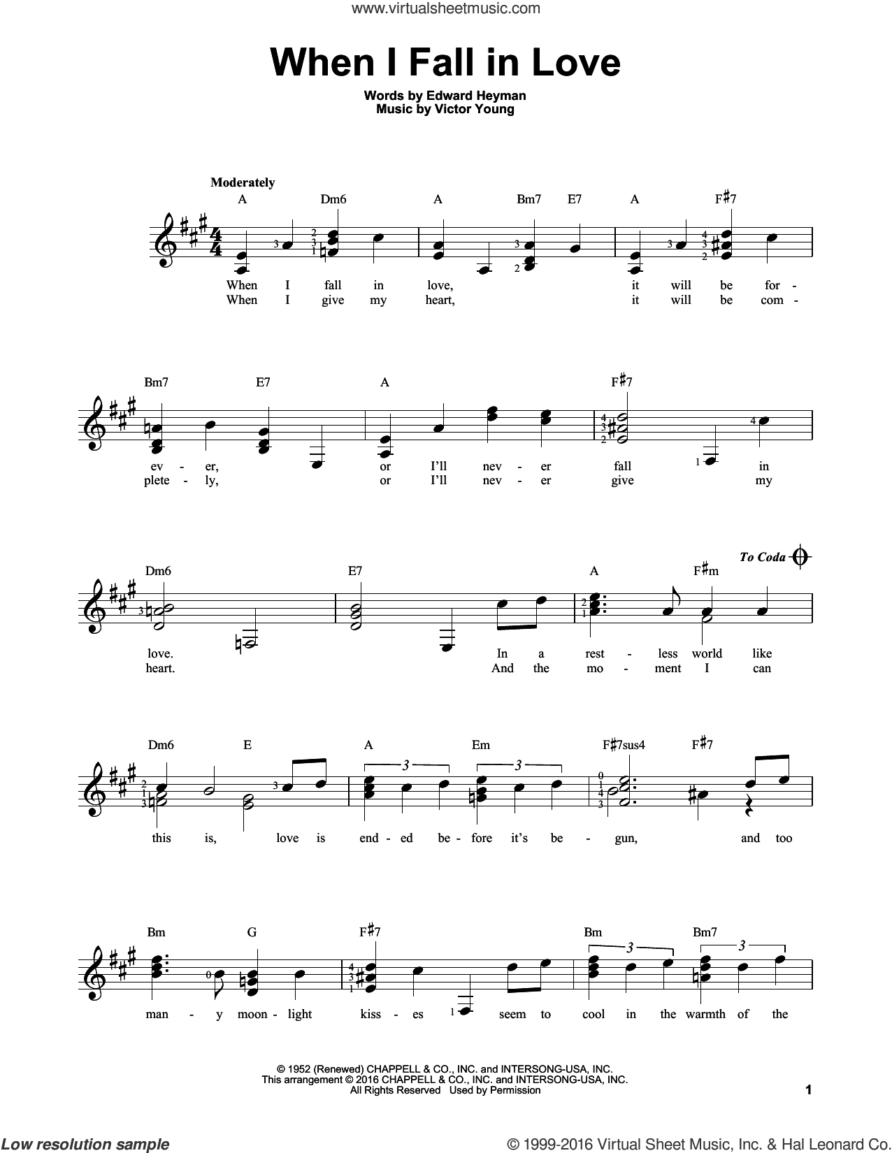 When I Fall In Love sheet music for guitar solo (chords) by The Lettermen, Carpenters and Victor Young, easy guitar (chords). Score Image Preview.
