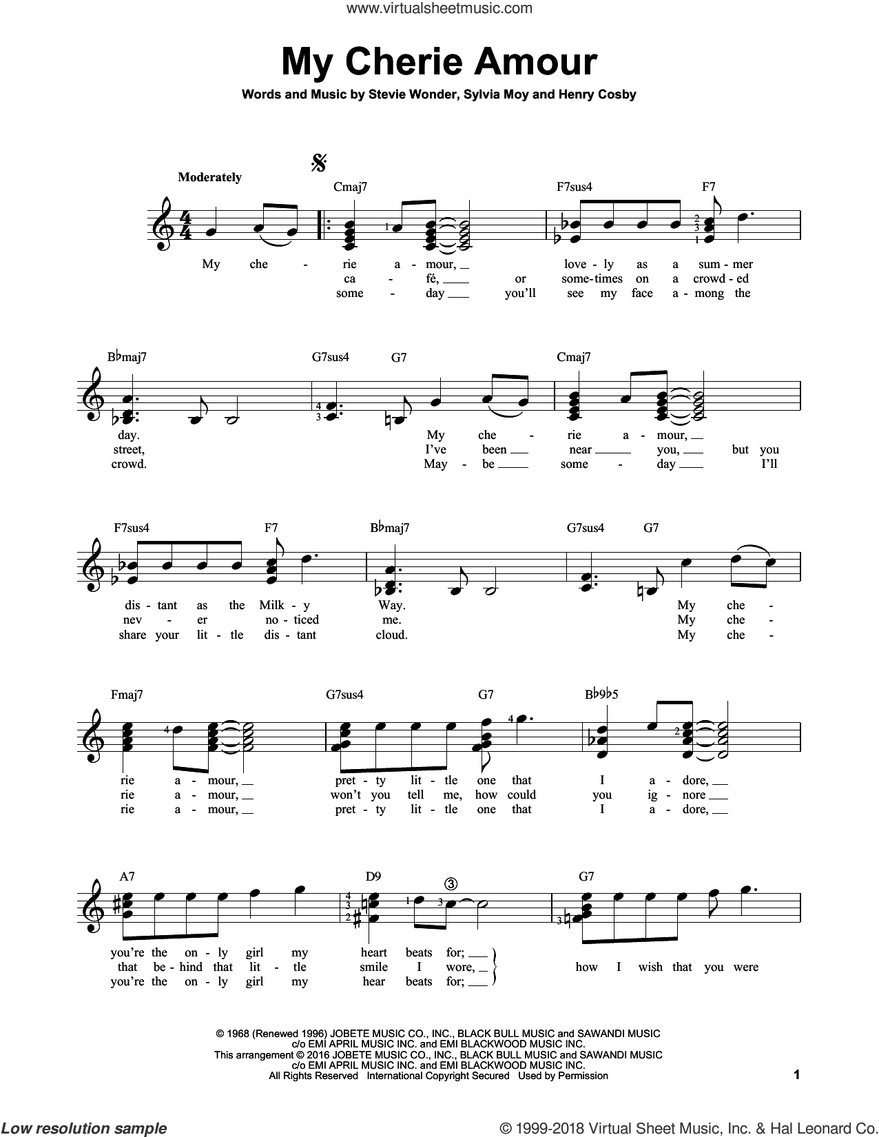 My Cherie Amour sheet music for guitar solo (chords) by Stevie Wonder, Henry Cosby and Sylvia Moy, easy guitar (chords)